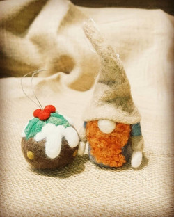Needle felted gnome and xmas pudding