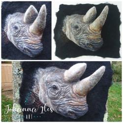 Black Rhino 3D wool portrait