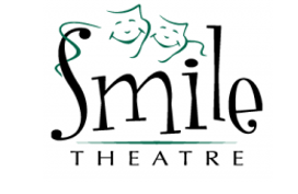 Smile Theatre, a black and green logo with comedy, tragedy masks and playful font