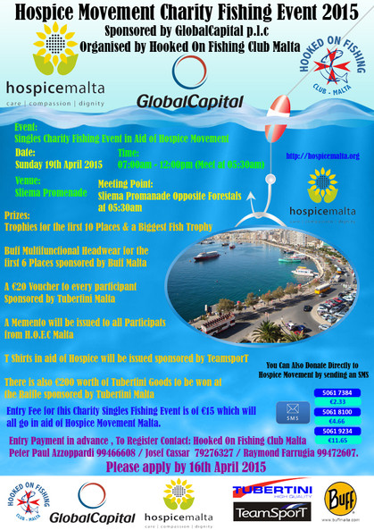 A charity fishing event 19/04/15 organized by H.O.F.C Malta
