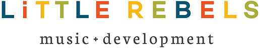 Little Rebels Music and Development logo with the comany title in a bold multi colour font.