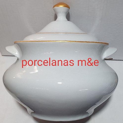 Sopeira grande 4 litro porcelana Fio ouro metalizado