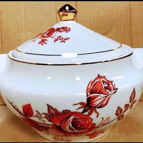 Sopeira Flor vermelha  em porcelana