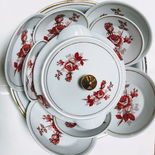 Igba iansã 11 peças Flor vermelha ouro