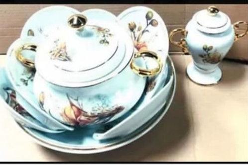 Igba lírio ouro 11 pecas porcelana
