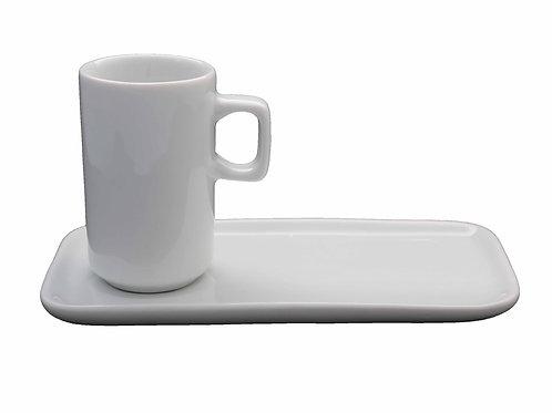 12 xícara com pires retangular  em porcelana