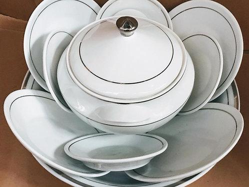 Igba 11 peças fio prata em porcelana