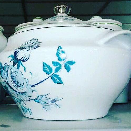 Sopeira flor azul prata em porcelana Medidas 3150 ml