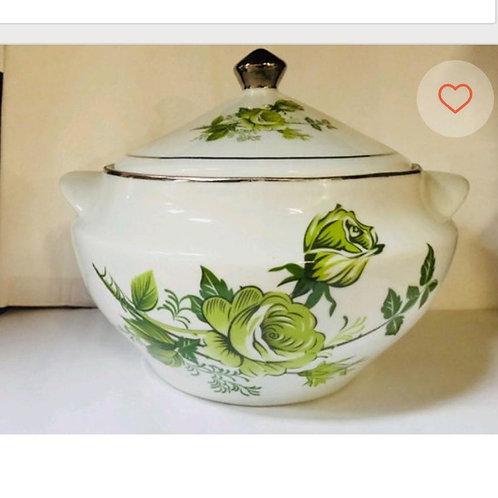 Sopeira flor verde prata em porcelana  3 litro