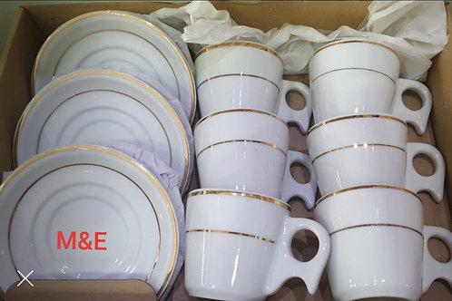 Xícaras para cha 6 pecas 200 ml porcelana