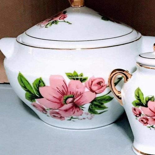 Sopeira + quartinha Rosa porcelana
