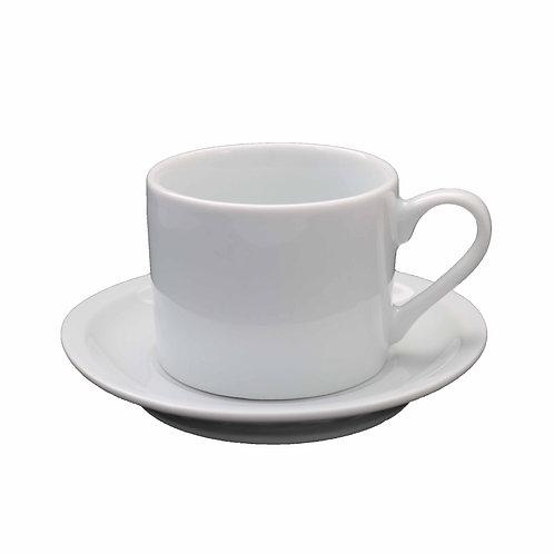 6 xícara com pires em porcelana 200 ml