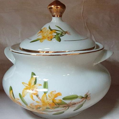Sopeira flor amarela 4 litros em porcelana ouro
