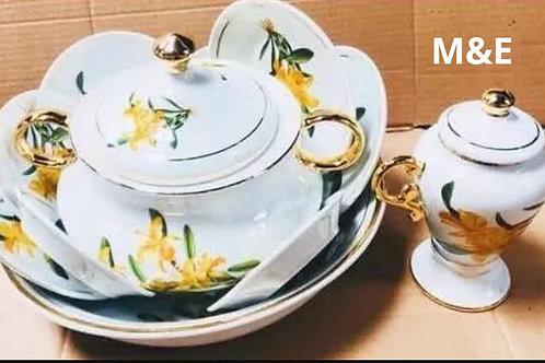 Igba orquídea  amarela ouro porcelana