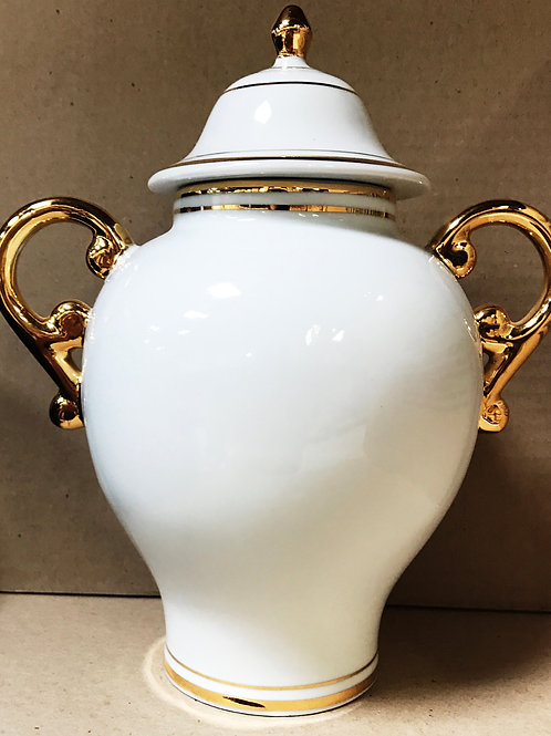 Quartinha grande com asa branca com fio ouro
