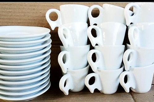 12 xícaras para café com Pires 70 ml