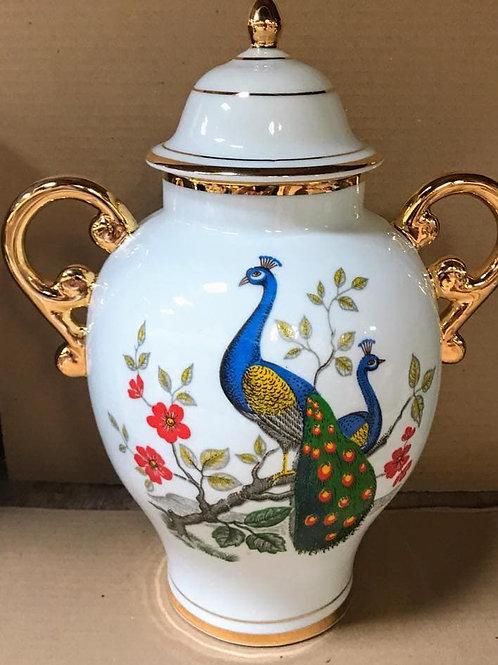 Quartinha grande pavão ouro porcelana