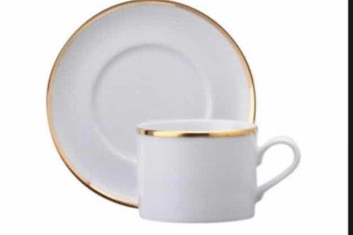 06 xícara para chá com Pires fio ouro 200 ml