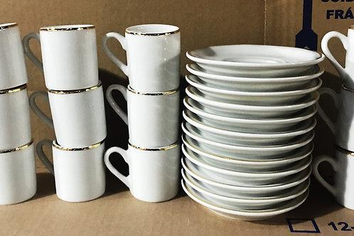 12 xícara para café com Pires fio ouro 60 ml