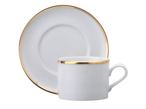 12 xícara com pires em porcelana para cha 200 ml fio ouro