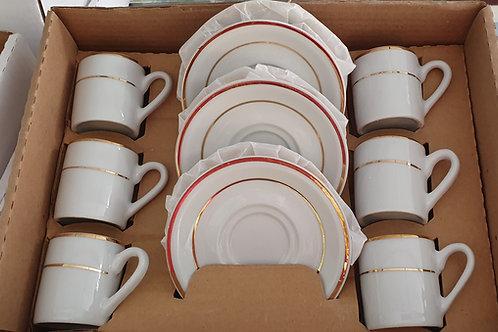 Xicara para café fio ouro 60 ml 6 peças