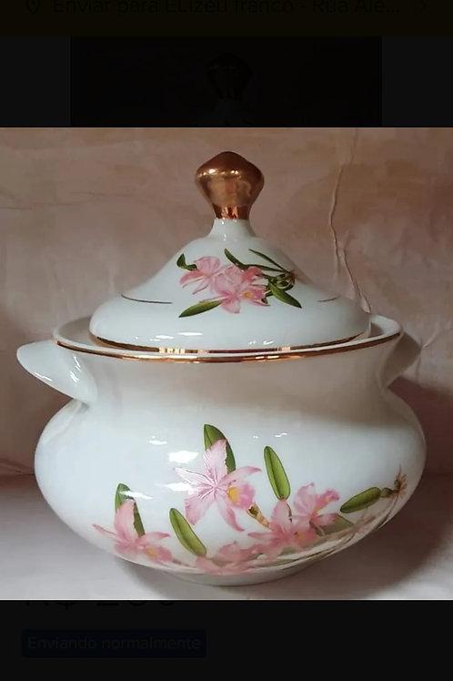 Sopeira grande flor rosa em porcelana