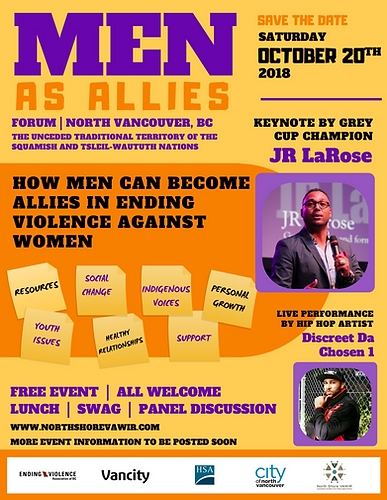 Men as Allies event on the North Shore on October 20th, 2018 - more details to be posted soon