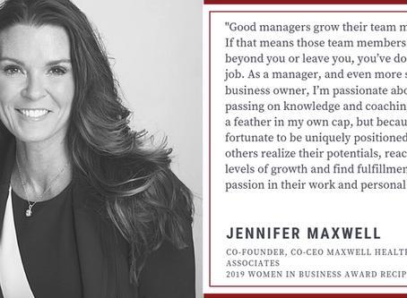 2019 Women in Business Award--Congrats Jennifer Maxwell