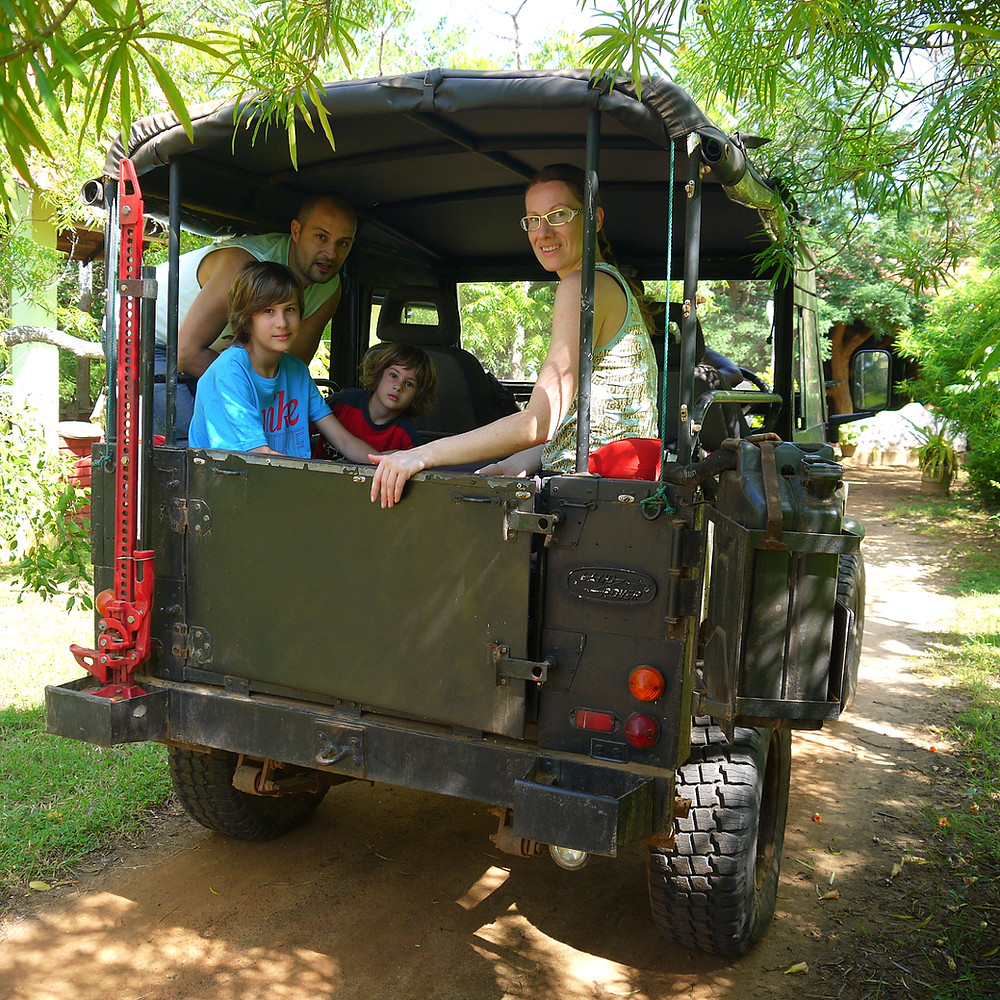 Family on a 4WD vehicle
