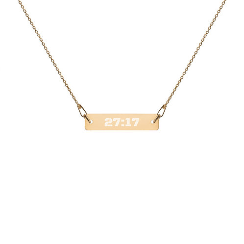 27:17 Engraved Silver Bar Chain Necklace