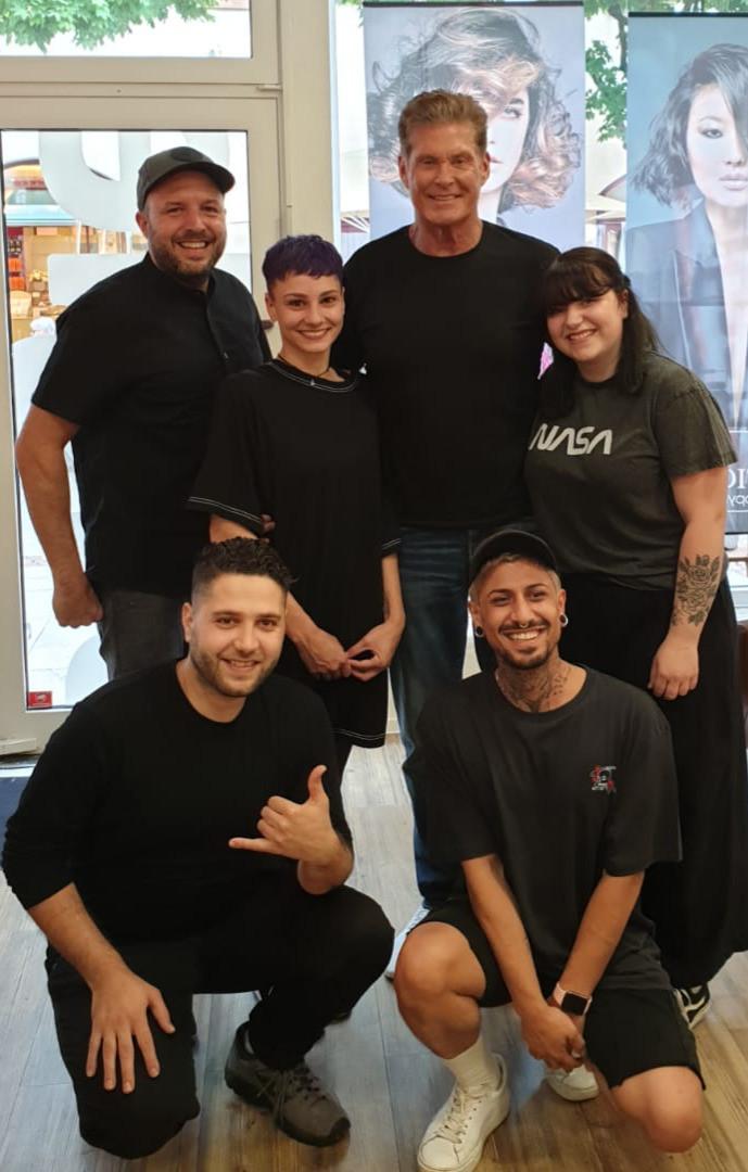 David Hasselhoff mit neuem Haarschnitt von Bernd Schneider