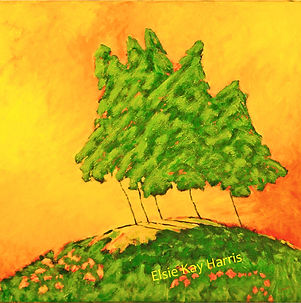 Kentucky Contemporary Landscape artist Elsie Harris' contemporary painting of lanky pines on a hilltop