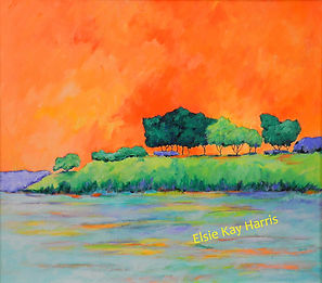 Kentucky Landscape Artist Elsie Harris' contemporary painting of a colorful island on the intra-coastal waterway.