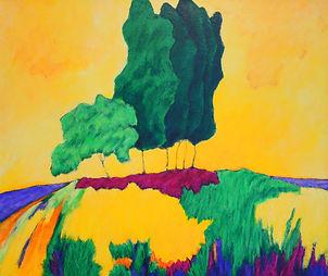 Kentucky landscape artist Elsie Harris' painting of stately trees on a mountain ridge