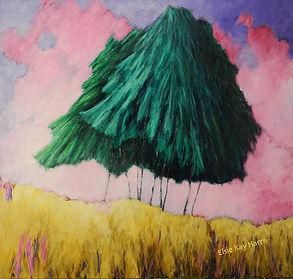 Kentucky landscape artist Elsie Harris'contemporary painting of lonley pines on a mountain ridge