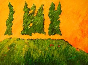 Kentucky landscape artist Elsie Harris' contemporary painting of pine trees on a ridgetop