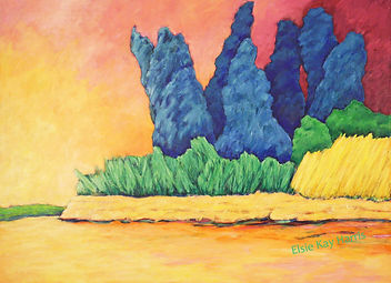 Kentucky landscape artist Elsie Harris' contemporary painting of a river island of Blue Spruces