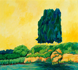 Kentucky landscape artist Elsie Harris' contemporary painting of stately pine trees on a river
