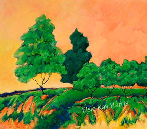 Kentucky Contemporary Landscape artist Elsie Harris' contemporary painting of trees lining a colorful ridge