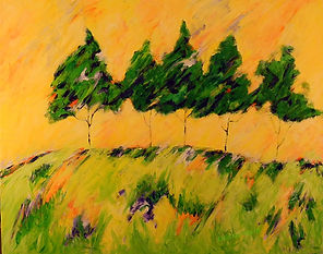 Kentucky Landscape Artist Elsie Harris' contemporary painting of whispy pines on sunlit ridge