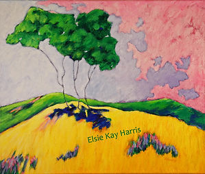 Kentucky Contemporary Landscape artist Elsie Harris' contemporary painting of slender brances on a hillside