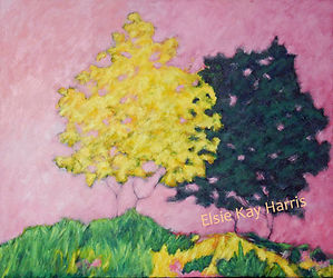 Kentucky landscape artist Elsie Harris' contemporary painting of a hillside of Autumn's colors