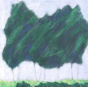Kentucky landscape artist Elsie Harris' painting of clusters of pine trees