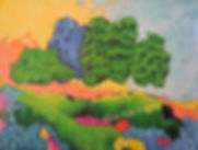 Kentucky landscape artist Elsie Harris' contemporary painting of a colorfll rolling ridged hilltop