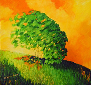 Kentucky Landscape artist Elsie Harris' contemporary painting of falling trees on hilltop ridge