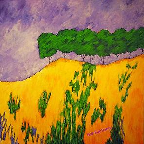 Kentucky landscape artist Elsie Harris' contemporary painting of golden grasses on mountaintop