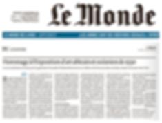 Le Monde, 14 septemb.pnge 2018, article de Philippe Dagen à propo de l'expsition organisée par Nicolas Rolland et Charles-Wesley Hourdé