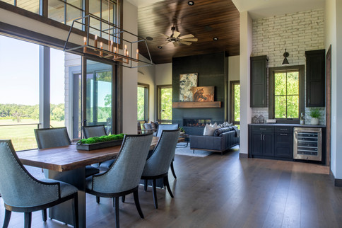 Modern Ranch Dining Room to Hearth Room