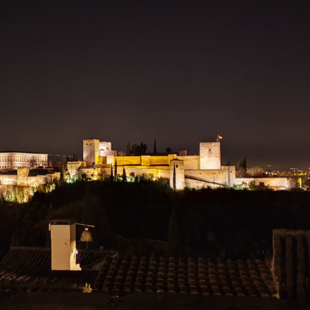 Night view of the Alhambra Palace from Mirador de San Nicolas