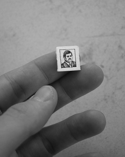 """Ron Swanson"" Miniature Drawing"